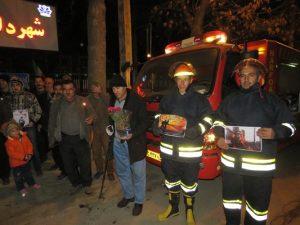 همدردی آتش نشانان و شهروندان خامنه با شهدای آتش نشان ساختمان پلاسکو