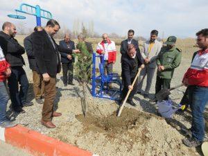همزمان با هفته منابع طبیعی جشن درختکاری در شهر خامنه برگزار شد