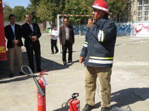 کارگاه آموزش ایمنی و اطفاء حریق در مدرسه معرفت شهر خامنه برگزار شد