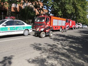گزارش تصویری؛ رژه مشترک نیروهای آتش نشانی، امدادی و امنیتی شهر خامنه