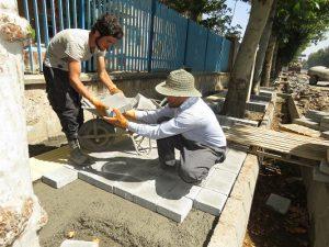 اجرای پروژه پیاده روسازی و استاندارد سازی پیاده روهای شهر خامنه
